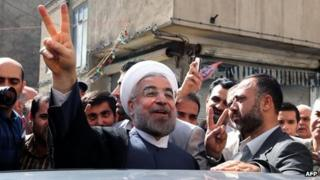 Hassan Rouhani shows he has voted in Tehran (14 June 2013)