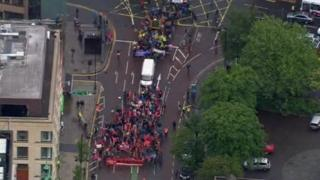 Aerial view of G8 protest march in Belfast