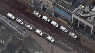 Aerial view of police vehicles