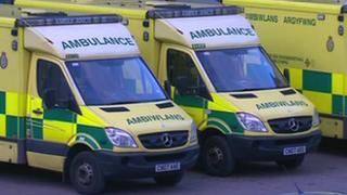 Ambulances queue at a hospital