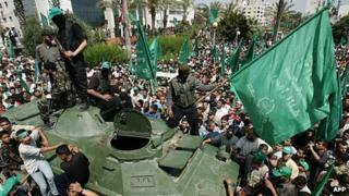 Thousands attended a Hamas victory rally held in the Gaza Strip after the fighting in June 2007