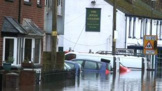 Upper Lydbrook in flood