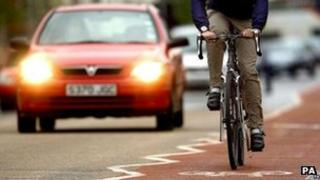 Car and cyclist, Cambridge