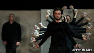 Dancers rehearse Puz/zle by Sidi Larbi Cherkaoui at Sadler's Wells Theatre