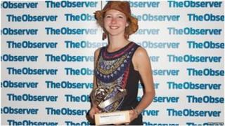 Millie Barrow picks up the award
