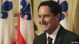 Michael Applebaum reacts after being sworn in as Montreal's interim mayor in Montreal, Quebec 19 November 2013
