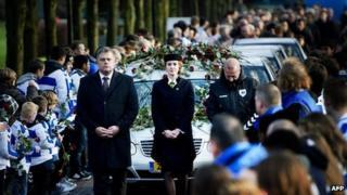 Funeral for Dutch amateur linesman Richard Nieuwenhuizen. 10 Dec 2012