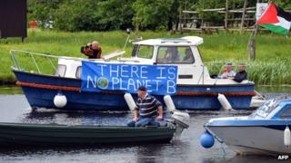 Anti G8 protesters on boat