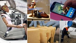 """Clockwise from left"""" crash test dummy, shoes, mobile phone, gas pipeline and American cheese"""