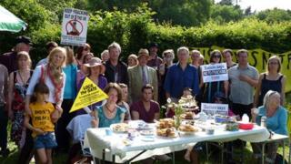 Protesters outside Lower Stumble site, near Balcombe, West Sussex