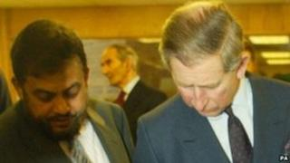 Chowdhury Mueen-Uddin with Prince Charles at the Markfield Islamic Foundation in Leicestershire in 2003