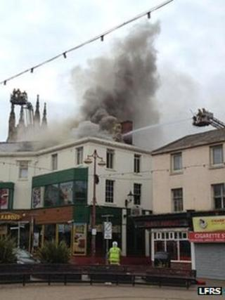 Firefighters working at the Walkabout in Blackpool