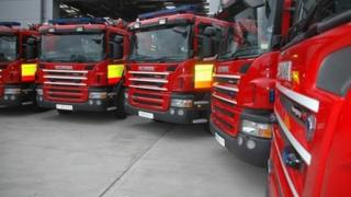 A row of fire engines
