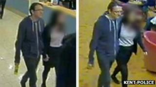 CCTV images of the couple holding hands on board the ferry to Calais