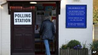 Voter entering polling station