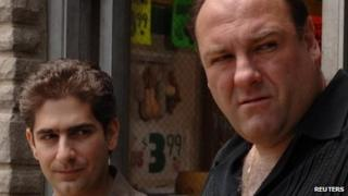 James Gandolfini with Michael Imperioli in The Sopranos