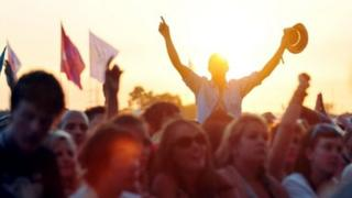 The audience at the Glastonbury Festival
