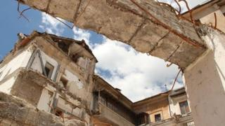 Damaged buildings in L'Aquila, 2013