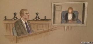Courtroom sketch of Jeremy Forrest in the dock, with his victim - who cannot be named - giving evidence by videolink