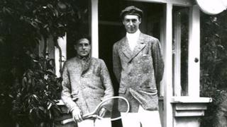 Wimbledon champions, the Doherty brothers, outside The Elms