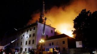 Fire at Riga Castle, Latvia. 20 June 2013