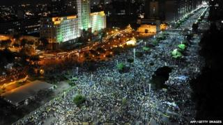 Protesters marching in Rio de Janeiro, Brazil