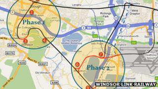 Windsor Link Railway map