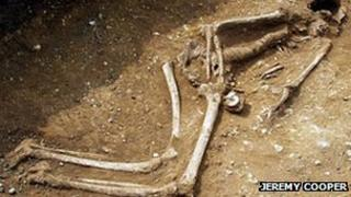 One of the skeletons found at Whitehall Farm in Nether Heyford