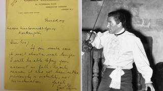 Errol Flynn and letter he wrote to Montague Jeffery