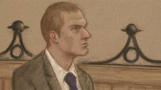 Artist drawing of Jeremy Forrest at Lewes Crown Court