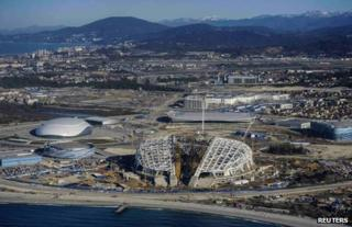 Olympic construction sites in Sochi, Russia, March 2013