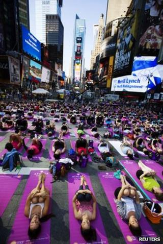 Yoga enthusiasts in Times Square