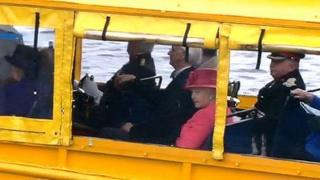 The Queen on board the Duckmarine