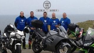Charity bikers at Land's End