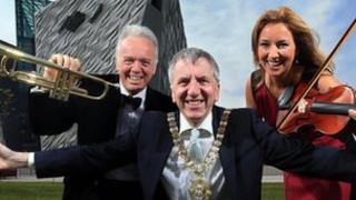 Noel Thompson, Máirtín Ó Muilleoir and Claire McCollum