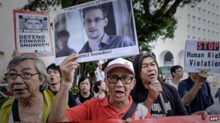 Supporters of Edward Snowden in Hong Kong. 13 June 2013