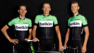 From l to r: Bauke Mollema, Robert Gesink, Lars Boom of Belkin Pro Cycling