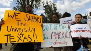 Students in favour of affirmative action outside the Supreme Court for oral arguments in Washington DC, October 2012