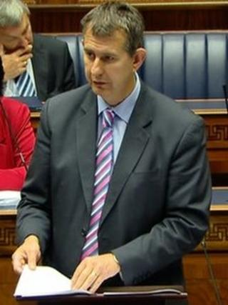 Edwin Poots makes a statement to the assembly