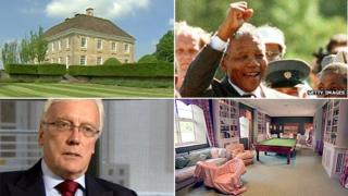Image montage of Nelson Mandela's prison release in 1990, Michael Young and Mells Park House in Somerset