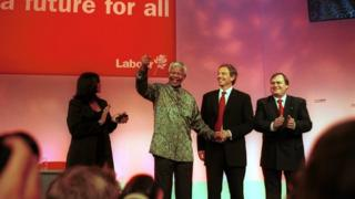 Nelson Mandela addressing the Labour Party conference in Brighton