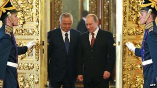 Islam Karimov with Russian President Vladimir Putin in the Kremlin in April 2013