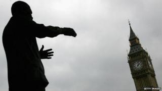 Statue of Nelson Mandela with Big Ben