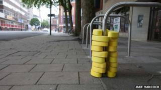 Bike rack art in Victoria Street