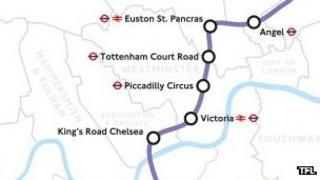 Both options for the Crossrail 2 route run from Angel to King's Road Chelsea