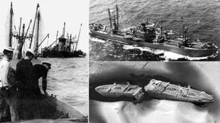 SS Richard Montgomery sinks (left), at four months old (top) and as it currently lies under the sea (bottom)