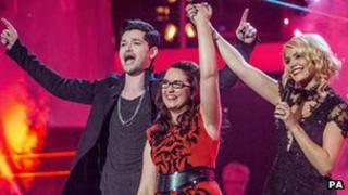 """The Voice winner Andrea Begley with Danny O""""Donoghue and Holly Willoughby"""
