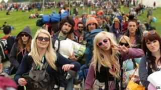 Two girls at Glastonbury Festival