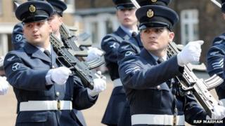 RAF Marham personnel marching though King's Lynn