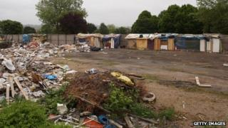 Makeshift shelters at former Hendon Football Club site